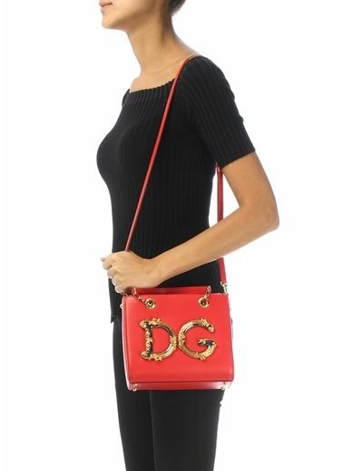 Dolce&Gabbana Dolce&Gabbana  Logolu Kadın Deri Omuz Çantası 101557029 Kırmızı